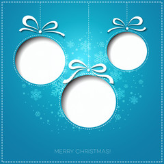 Merry Christmas greeting card with bauble. Paper design