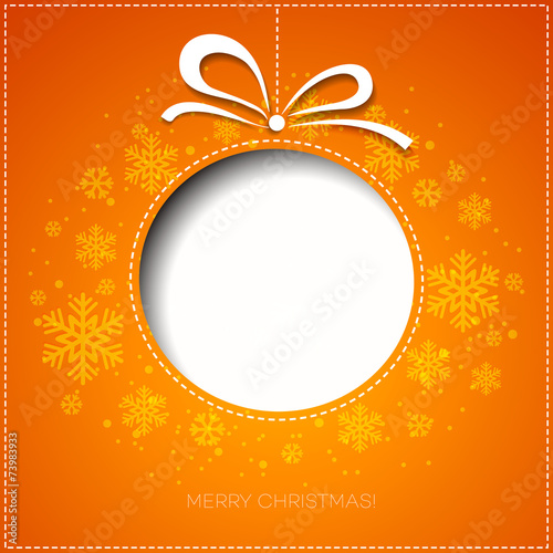 Merry Christmas greeting card with bauble. Paper design - 73983933