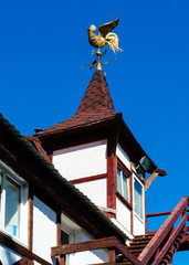 Weather vane on the roof of the tower