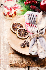 Christmas table setting in rustic style