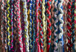 hanging colorful fabric strings