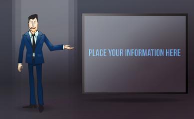Big screen for presentation.