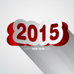 Happy New Year 2015 background with papercut year, vector illust