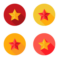 Christmas Yellow and Red Star Flat Set Circle Icon