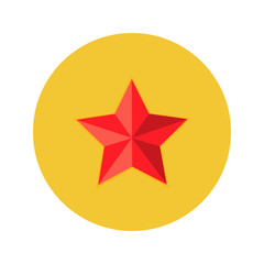 Christmas Red Star Flat Circle Icon
