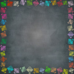 multiple kite border on chalkboard