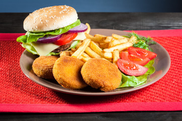 fish burger  and chips