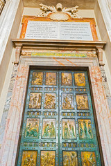 Holy doors at St. Peter Basilica in Rome, Italy.