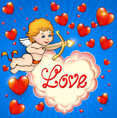 Valentine's Day card with cupid and hearts