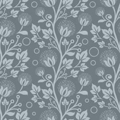 Seamless blue floral vector wallpaper pattern.