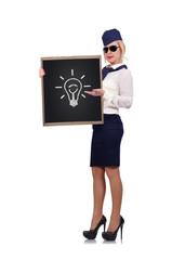 blackboard with lamp