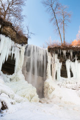 Partly frozen Minnehaha waterfall, Minnesota