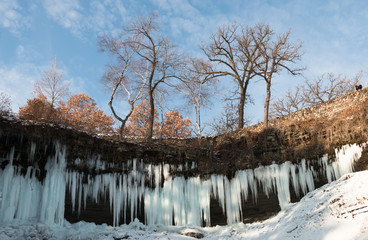 Icicles of partly frozen Minnehaha waterfall