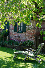 Deckchair in a cosy garden