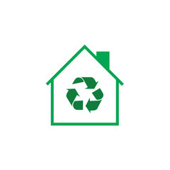 recycle sign and house shape