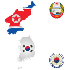 North and South Korea maps and emblems