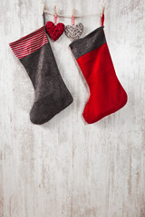 Christmas gift socks hanging on a wall