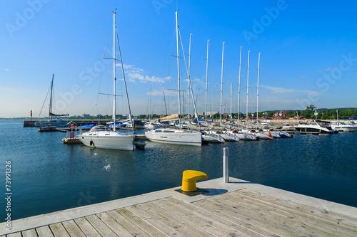 Leinwanddruck Bild Marina with yacht boats in Sopot town, Baltic Sea, Poland