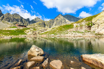 Alpine lake and rocks near Teryho hut, Tatra Mountains, Slovakia