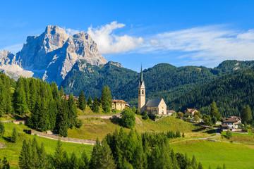 Church in alpine village of Pian, Dolomiti Mountains, Italy