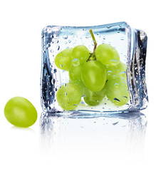 grape in ice isolated on the white background