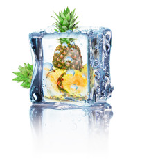 pineapple in ice isolated on the white background