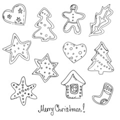 Gingerbread Christmas cookies. Vector illustration.