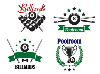 Billiards or Poolroom game badges or emblems