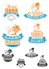 Summer paradize and holidays banners