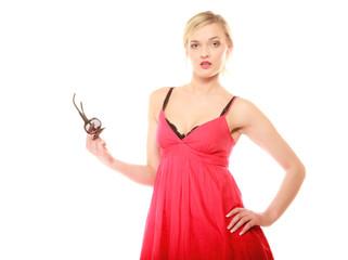 Summer fashion. Pretty fashionable girl in red dress