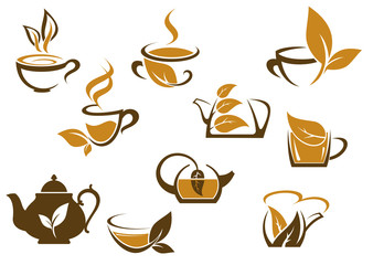 Set of organic and herbal tea icons