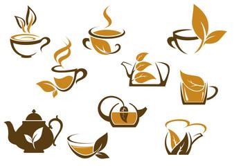 Set of organic and herbal tea icons