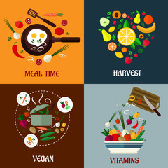 Colorful flat food poster designs