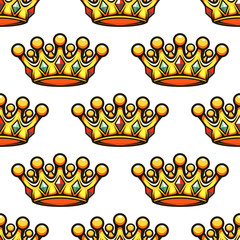 Seamless pattern of a royal golden crown