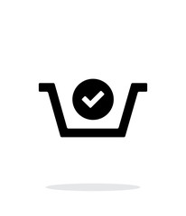 Shopping basket check simple icon on white background.