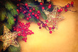 Christmas vintage background with retro styled baubles