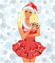 Beautiful Santa girl with poker cards, vector illustration