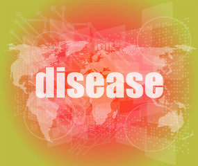 disease words on digital touch screen interface