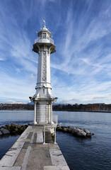 lighthouse on Lake Geneva, Switzerland
