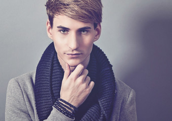 handsome man with scarf - guy 17_2