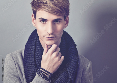 canvas print picture handsome man with scarf - guy 17_2