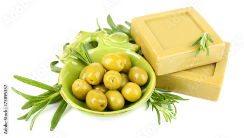 Fotobehang Olijfboom Bars of natural soap with rosemary and olive oil, isolated