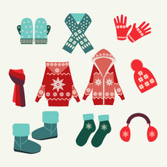 vector set of winter clothing-illustration