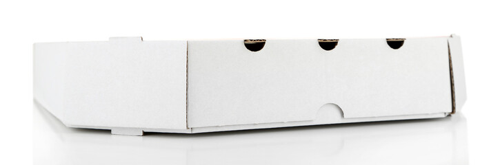 Cardboard pizza box, isolated on white