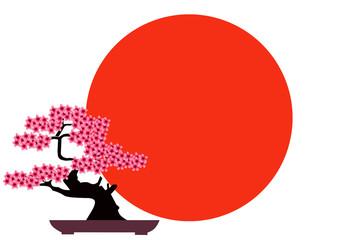 japan motif bonsai silhouette