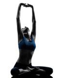 woman exercising yoga meditating sitting stretching silhouette