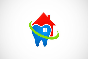 house dentist teeth care logo vector