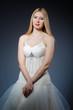 Bride in white dress in studio