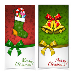 Christmas banners. Presents and decorations on holiday backdrop.
