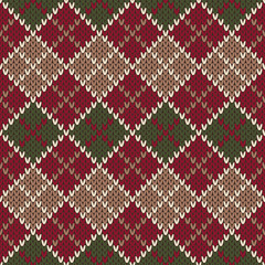 Seamless Christmas Sweater Design. Argyle Knitted Pattern